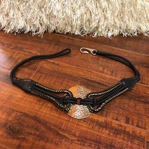Vintage Hammered Modernist Hook Waist Belt